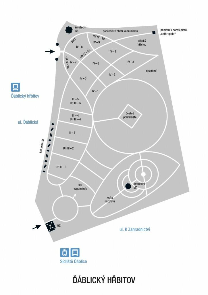 Ďáblický hřbitov - mapa